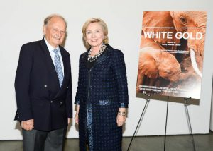 Simon Trevor and Hillary Clinton at premiere of White Gold
