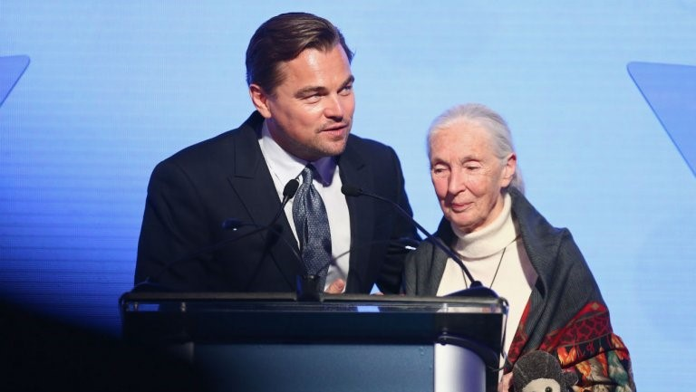 Leonardo DiCaprio and Jane Goodall